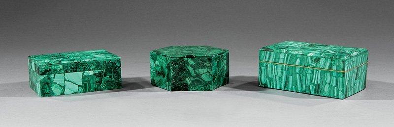 Three Russian Malachite Boxes