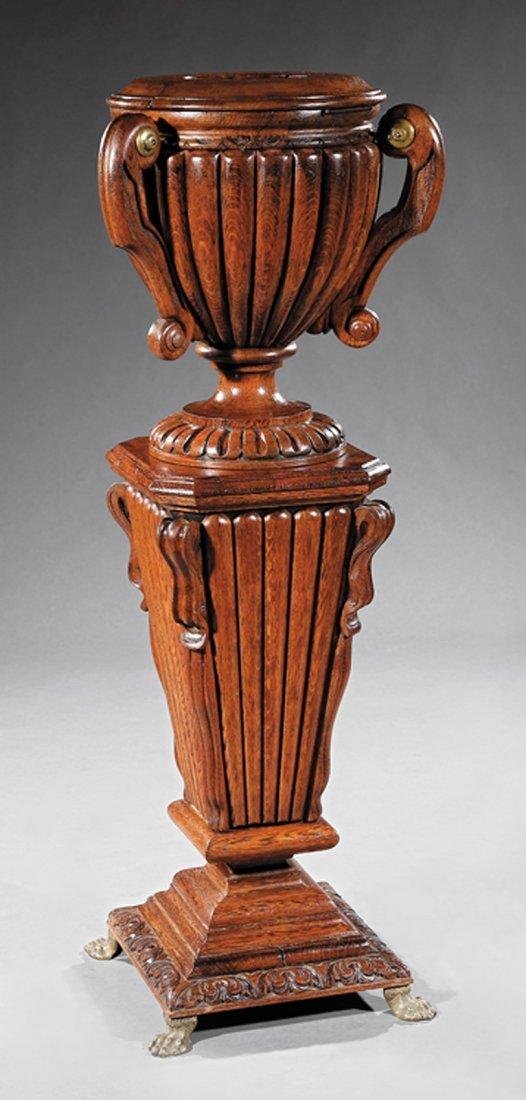 Continental Carved Oak Jardinere and Pedestal