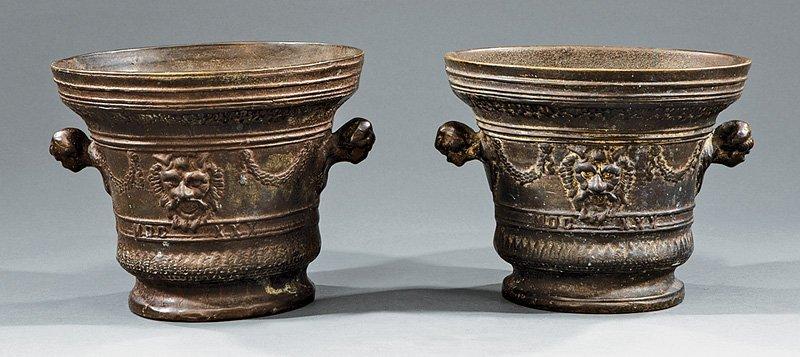 Pair ofContinental Bronze Urns