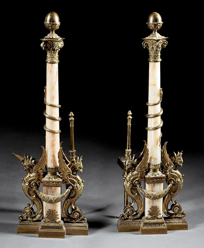 Pair of French Bronze and Onyx Chenets