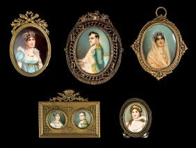 Group Of Five Napoleonic Portrait Miniatures