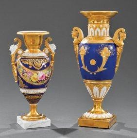 Paris Porcelain Cobalt And Gilt Amphora Vases
