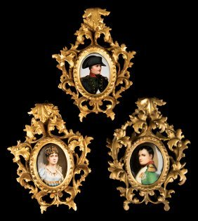 Group Napoleonic Portrait Miniatures On Porcelain