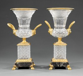 Charles X-style Bronze-mounted Cut Crystal Urns