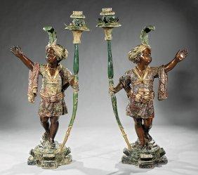 Venetian Polychromed Bronze Blackamoor Torcheres