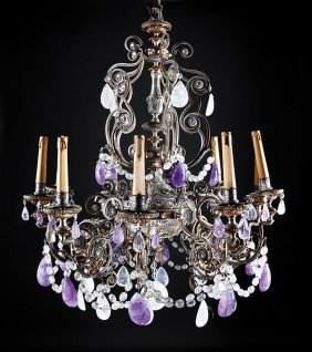 Bronze, Rock Crystal, Amethyst Chandeliers