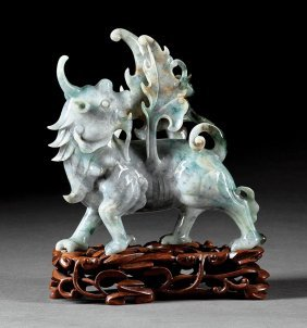 Chinese Green, White & Russet Jadeite Of A Qilin