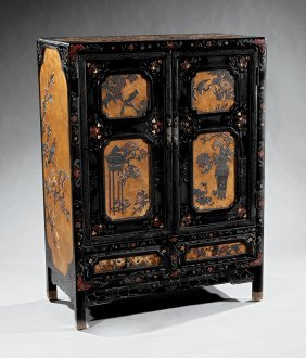 Pair Of Chinese Carved Lacquer Cabinets