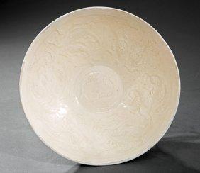 Chinese White Glazed Molded Pottery Bowl