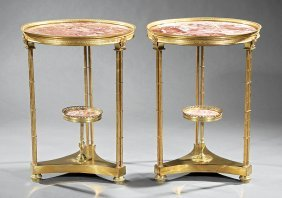 Pair Of Neoclassical-style Gilt Bronze Gueridons