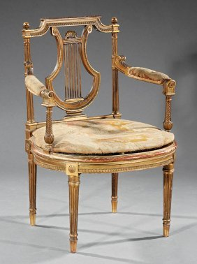 Louis Xvi-style Carved Giltwood Fauteuil