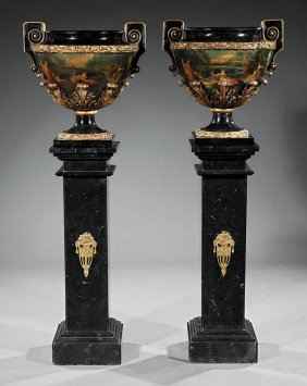 Pair Carved, Painted And Parcel Gilt Jardiniers