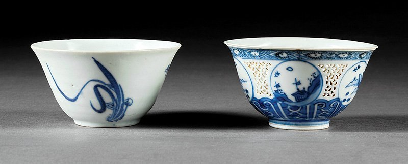 Two Chinese Blue and White Porcelain Tea Bowls