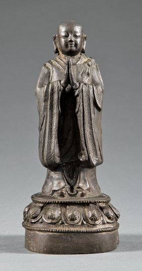 Chinese Bronze Figure Of A Monk