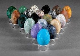 Twenty-one Semi-precious And Hardstone Eggs