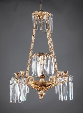 Gilt Bronze, Brass, Crystal Four-arm Chandelier