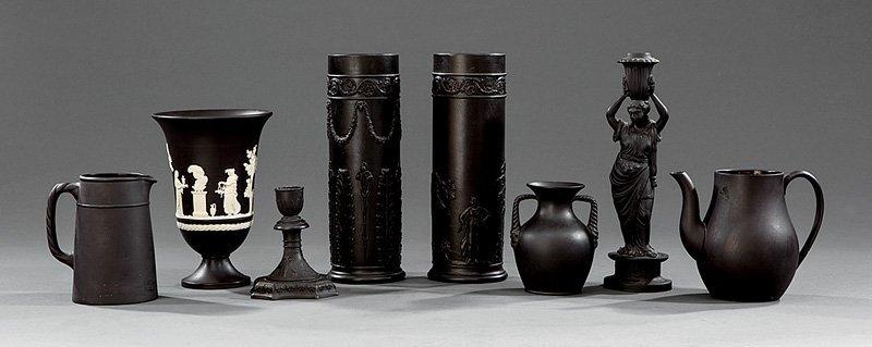 Four Wedgwood Black Basalt Tablewares