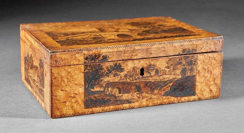 Birdseye Maple and Penwork Jewelry Box