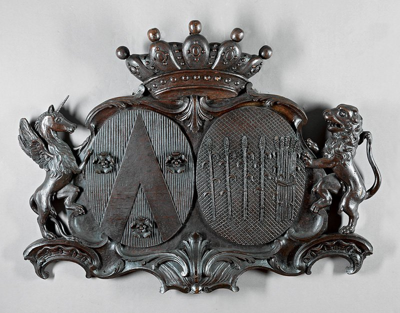 English Carved Oak Coat-of-Arms