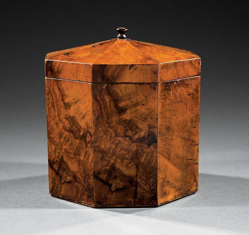 George III Figured Walnut Octagonal Tea Caddy