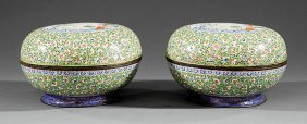 """Chinese """"canton Enamel"""" Covered Circular Boxes"""