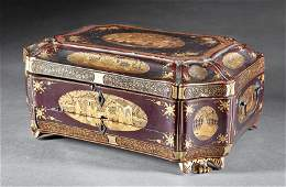 Chinese Export Gilt-Decorated Lacquer Sewing Box