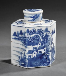 Chinese Export Blue And White Porcelain Tea Caddy
