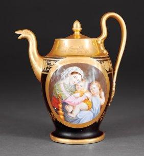 Paris Porcelain Teapot, Marked P.l. Dagotyy