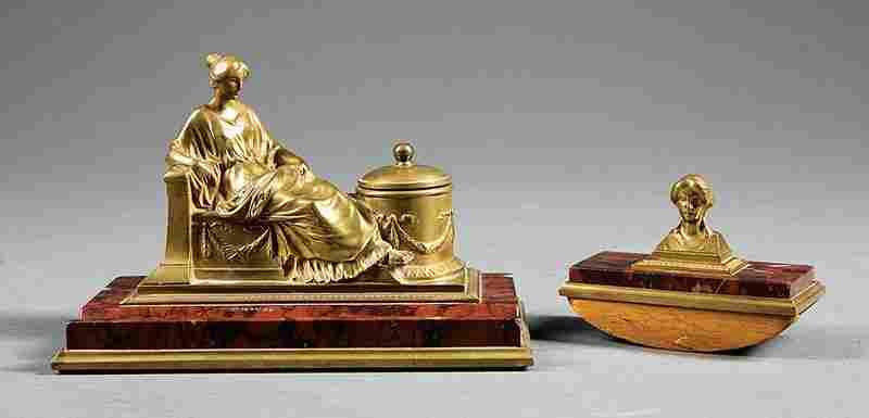 Austrian Bronze and Rouge Marble Desk Set