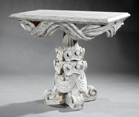 Continental Baroque-style Faux Marbre Consoles