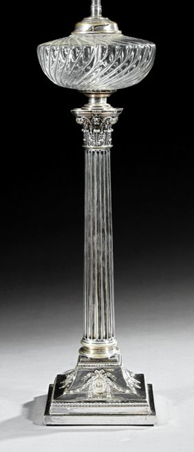 English Silverplate Banquet Lamp