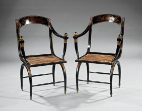 Regency-style Parcel-gilt And Ebonized Armchairs