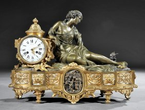 Gilt And Patinated Bronze Figural Mantel Clock