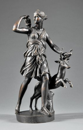 """French Bronze Of """"diana Chasseresse And A Stag"""""""