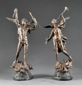 Pair Of Patinated Bronze Allegorical Figures