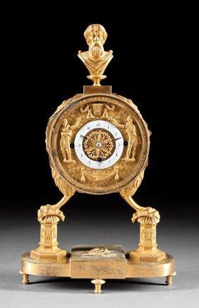 Neoclassical-style Gilt Bronze Mantel Clock