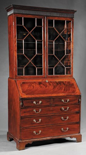 George Iii-style Inlaid Mahogany Desk & Bookcase
