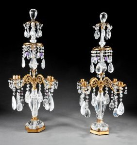 Gilt Metal And Rock Crystal Four-light Candelabra