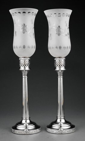 Pair Of Silverplate And Glass Photophores