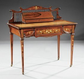 "Inlaid Rosewood Desk, Stamped ""rumney And Co."""