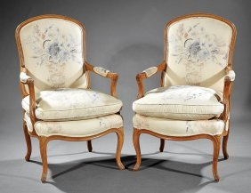 Pair Of Louis Xv/xvi-style Painted Fauteuils