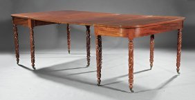 American Classical Carved Mahogany Dining Table