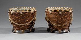Inlaid, Ebonized And Gilt Metal Cachepots