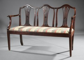 Neoclassical Carved Walnut Triple Back Settee
