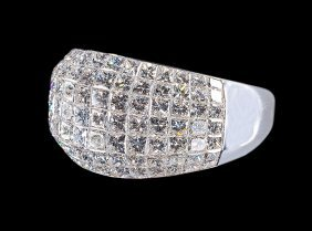 18 Kt. White Gold And Diamond Dome Ring