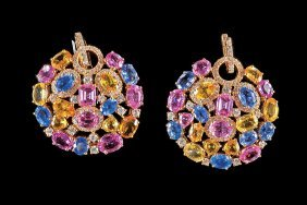18 Kt. Yellow Gold, Sapphire And Diamond Earrings