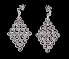 Pair Of Platinum And Diamond Earrings