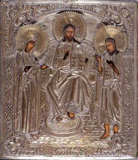Russian Icon Of Christ, Virgin And St. John