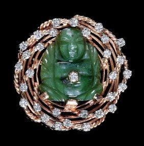 14 Kt. Yellow Gold, Jade And Diamond Brooch
