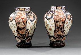 Pair Of Japanese Imari Porcelain Octagonal Jars